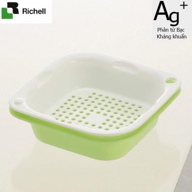 Set 2 khay rổ kháng khuẩn 2.5L Richell (Xanh lá) - Nhật Bản
