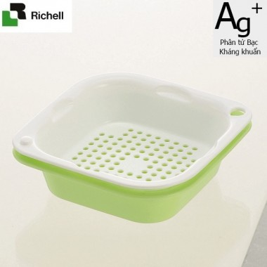 Set 2 khay rổ kháng khuẩn 630ml Richell (xanh lá) - Nhật Bản