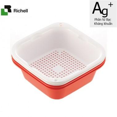 Set 4 khay rổ kháng khuẩn 630ml Richell (Hồng đậm) - Nhật Bản