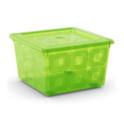 Hộp nhựa chứa đồ Square Box - xanh lá KIS - Ý
