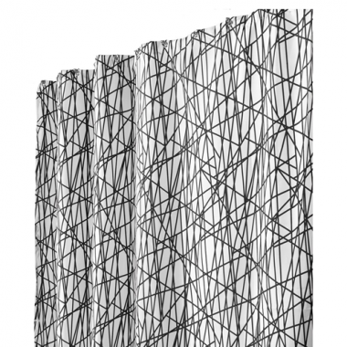 Rèm nhà tắm họa tiết gạch chéo Abstract (trắng/đen) Interdesign - Mỹ
