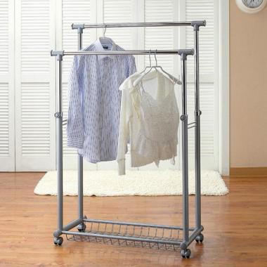 Giá treo quần áo loại đôi di động Living star - Hàn Quốc (màu bạc)