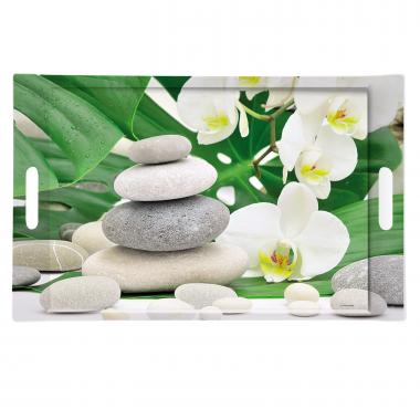 Khay nhựa hình chữ nhật họa tiết hoa,đá Nuova - Ý