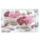Khay nhựa melamin chữ nhật họa tiết 2 bát hoa Nuova - Ý