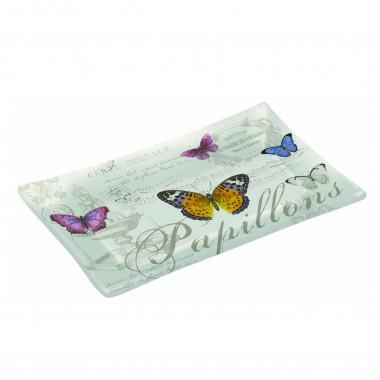 Khay thủy tinh cao cấp họa tiết Butterfly 36x17cm Nuova - Ý