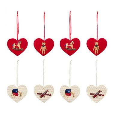 Bộ 4ch dây trang trí hình trái tim đỏ/trắng