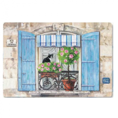 Khay nhựa melamin họa tiết cửa sổ xanh (45x31)cm Nuova - Ý